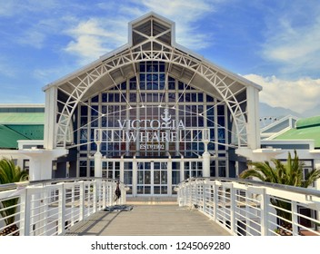 Entrance to the Victoria and Alfred Waterfront, a popular shopping complex in the capital city of Cape Town, South Africa, November 2018