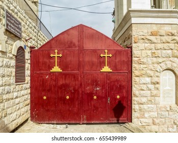 Entrance Virgin Mary Church of the Syrian Orthodox In Bethlehem. In April 2002, Palestinian gunmen took refuge in the church with Israeli army in pursuit.
