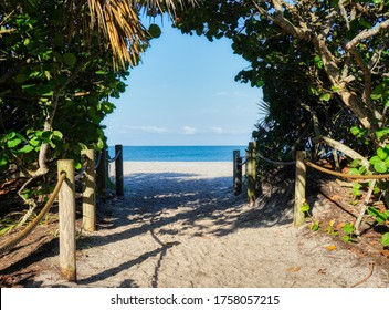 Entrance walkway to Blind Pass Beach on Manasota Key on the Gulf of Mexico in Englewood FLorida in the United States