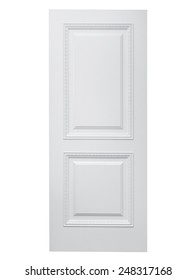 Entrance wooden door on a white background.