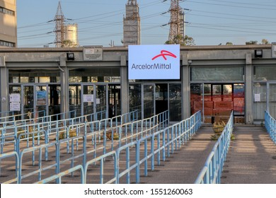 The entrance for the workers called door D of the ArcelorMittal (formerly Ilva) steel industry in Taranto, Puglia, Italy - 05/11/2019