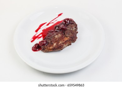 Entrecote with cherry sauce