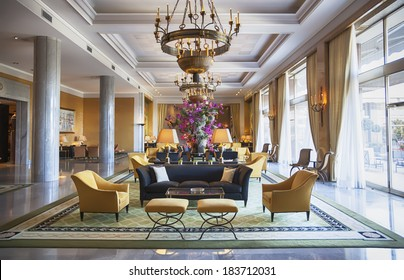 entree hall in luxury hotel