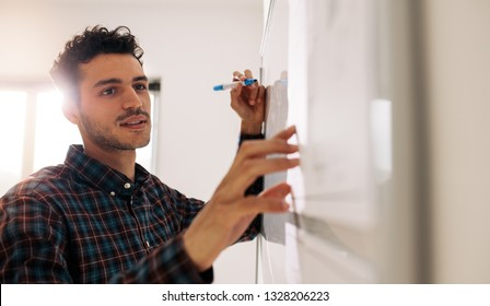 Entrepreneur discussing business ideas and plans on a board. Businessman writing on whiteboard using a marker pen.