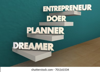Entrepreneur Dreamer Planner Doer Steps 3d Illustration
