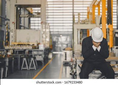 Entrepreneur feel Stressful depressed situation in factory.Unemployed Jobless People Crisis who Recession.Senior worker despair low economic crisis,business failure or government failed manage economy