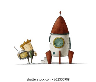 Entrepreneur next to a rocket is waiting with a helmet in his hand. isolated, white background.