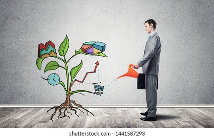 Entrepreneur watering drawing tree consisted of business infographic symbols. Man cultivating green plant of wealth and success. Leader contributes to business growth. Planning and strategy of company