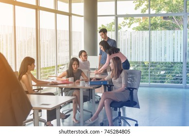 Entrepreneurs business people working in board room in office. Business team corporate colleague conference to finish new business plan. Organization meeting business planning concept.