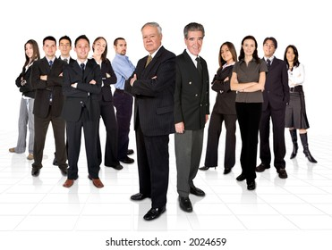 entrepreneurs and their huge business team - two seniors at the front