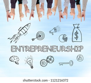 Entrepreneurship concept pointed by several fingers