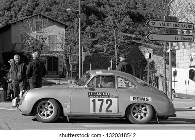 ENTREVAUX, FRANCE, February 5, 2019 : Rally goes trough the medieval village. Rallye Historique is reserved to those cars which have participated in the Rallye Monte-Carlo before 1980.