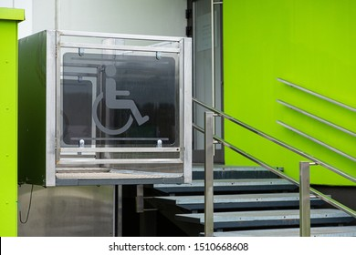 Entry to apartment building with convenient elevator for people in wheelchairs