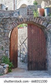 Entry door to Monaster