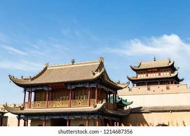 """Entry gate of Jiayuguan Fort, Gansu, China. Known as """"first pass under the heaven"""", it was the most western fort of ancient china on the silk road, the end of civilization before the Gobi desert"""