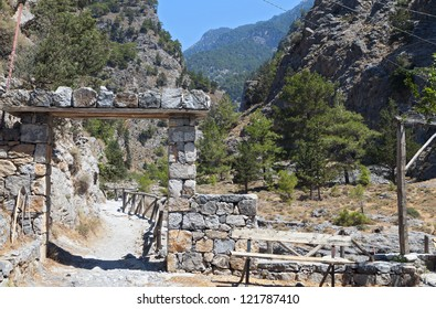 Entry of the Samaria gorge at Crete island in Greece
