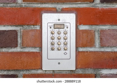 entry system of a house on brick background