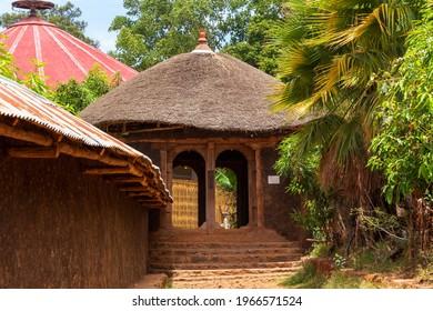 Entry to UNESCO Ura Kidane Mehret Church, monastery from 14th century. Zeghe Peninsula in Lake Tana. near bahir Dar, Ethiopia - Shutterstock ID 1966571524