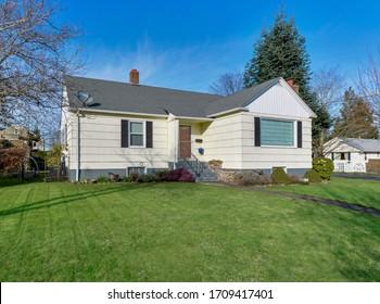 Enumclaw, WA / USA - Feb. 26, 2020: Front residential exterior