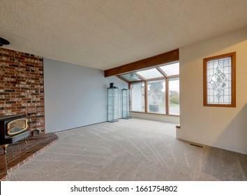 Enumclaw, WA / USA - Feb. 6, 2020: Empty living room interior