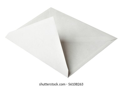 Envelope close-up isolated over the white background