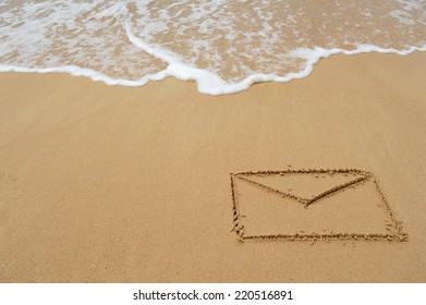 Envelope drawn in the sand at the beach