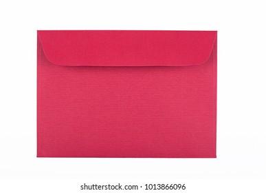 Envelope of garnet color on white background. Isolated. Mockup.