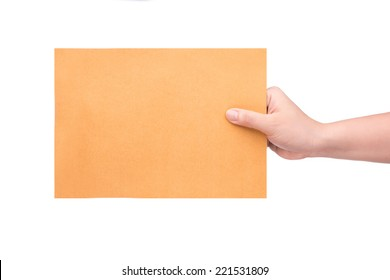 Envelope in the hand isolated on white background with Clipping Part
