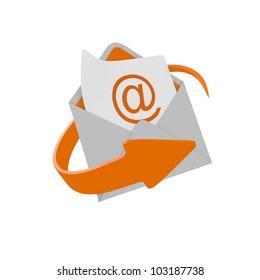 Envelope mail with orange arrow
