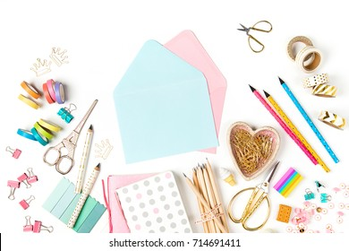 Envelope  mockup and stylish stationery. Flat lay, top view trendy back to school concept.