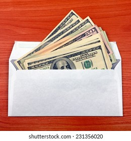 Envelope With a Money on the Table closeup
