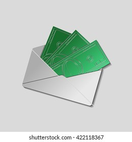Envelope with money. Paper style with shadow and cutted silhouette of 100 dollar