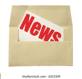 envelope with a note with news isolated on white background