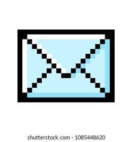 Envelope pixel art on white background