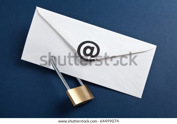 Envelope with at Symbol and lock, concept of E-Mail Security