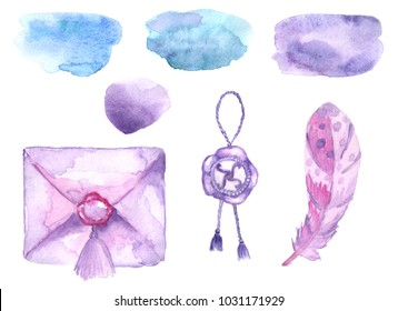Envelope with wax seal, wax seal, bird feather, watercolor stain. Watercolor illustration for poster, postcard, fabric print and design project