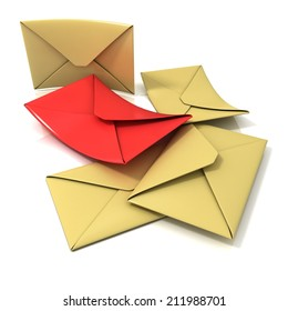 Envelopes, isolated render on a white background