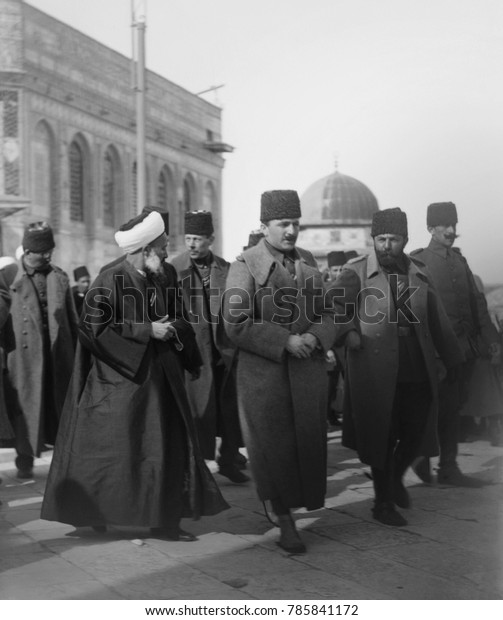 Enver Pasha and Cemal Pasha ( right) in Jerusalem in 1916, at the Dome of the Rock. Enver, as Minister of War, was the main leader of Turkey from 1914-1918. Cemal lead the Ottoman army against Britis
