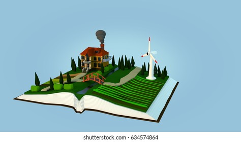 Environment in a book on blue background. 3d render
