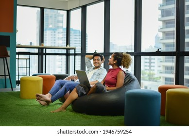 Environment business office. profesional business creative office people. young women african and smart  business happy work good ideas workplace workshop. two young creative marketing.