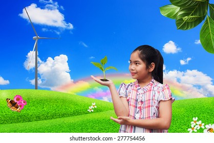 environment concept,save the world,cute girl with green tree