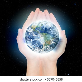 """Environment and ecology concept,diamond earth """"Elements of this image furnished by NASA """""""