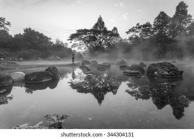 Environment hot spring in sunrise time at Jaeson National Park in Lampang, Thailand. Black & White Vintage style