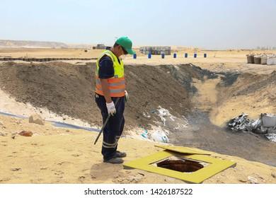 Environment inspector at work, Jeddah, Saudi Arabia, april 2018