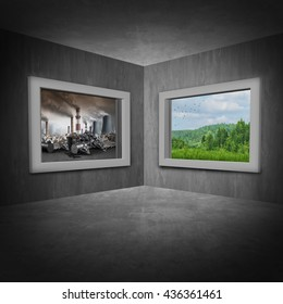 Environmental change concept as a room with two windows showing a polluted toxic environment with green trees and clean air as a climate and ozone depletion symbol with 3D illustration elements.