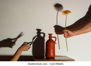 Environmental concept/A hand that holds a flower towards a red pot and another hand holding a scissors as a nature preservation concept image.