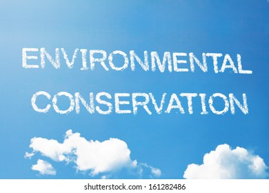 Environmental conservation a cloud word on sky