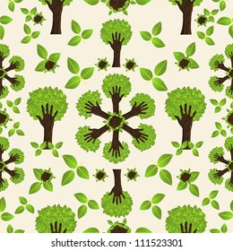 Environmental conservation hand tree forest seamless pattern.