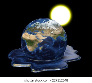Environmental disaster concept of Earth melting under the sun. Elements of this image furnished by NASA