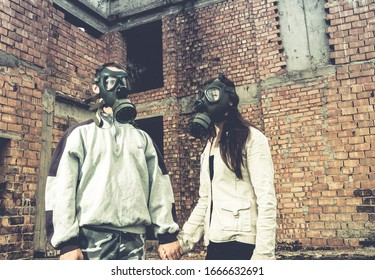 environmental disaster couple in love wearing gas mask